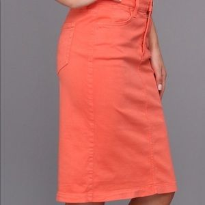 NYDJ Emma Twill Skirt Style 30561DT Papaya Orange